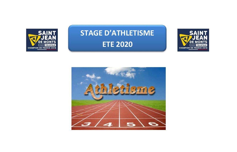 STAGE D'ATHLETISME ETE 2020
