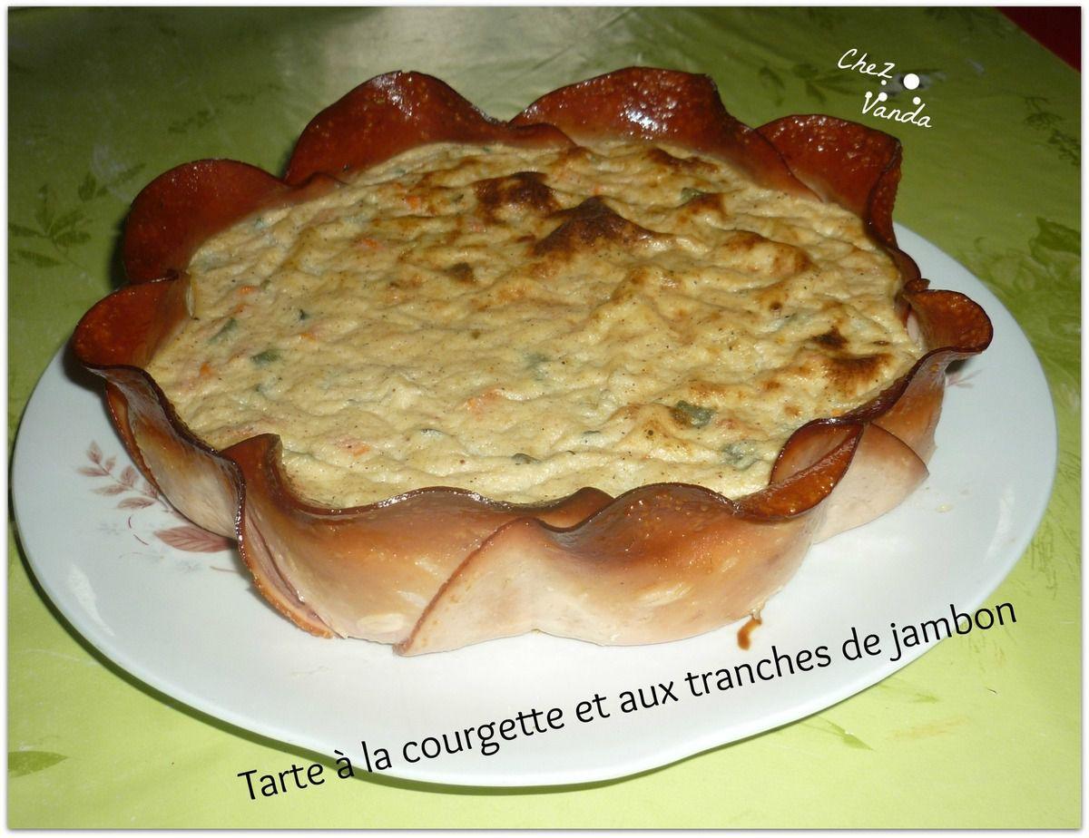 Tarte  à la courgette sans pâte  et aux tranches  de jambon