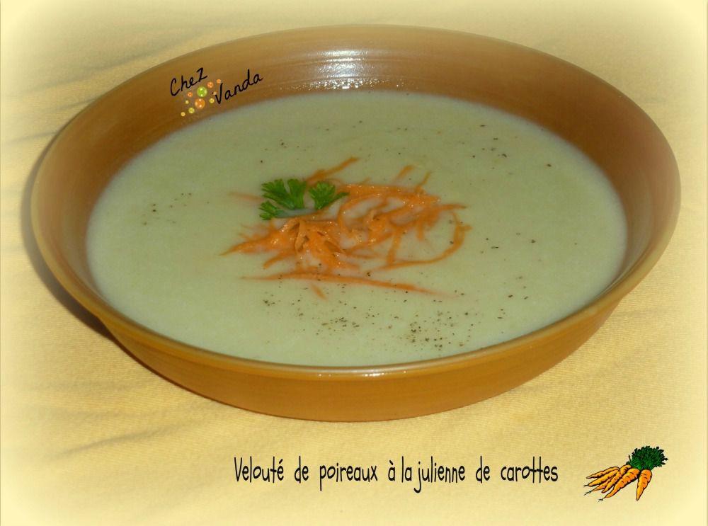Velouté de poireaux à la julienne de carottes