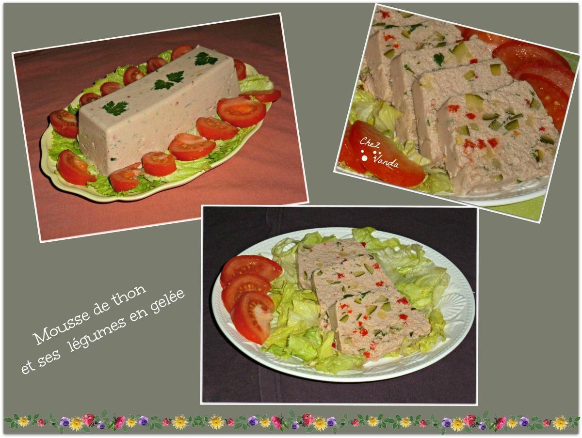 Mousse de thon et ses légumes en gelée