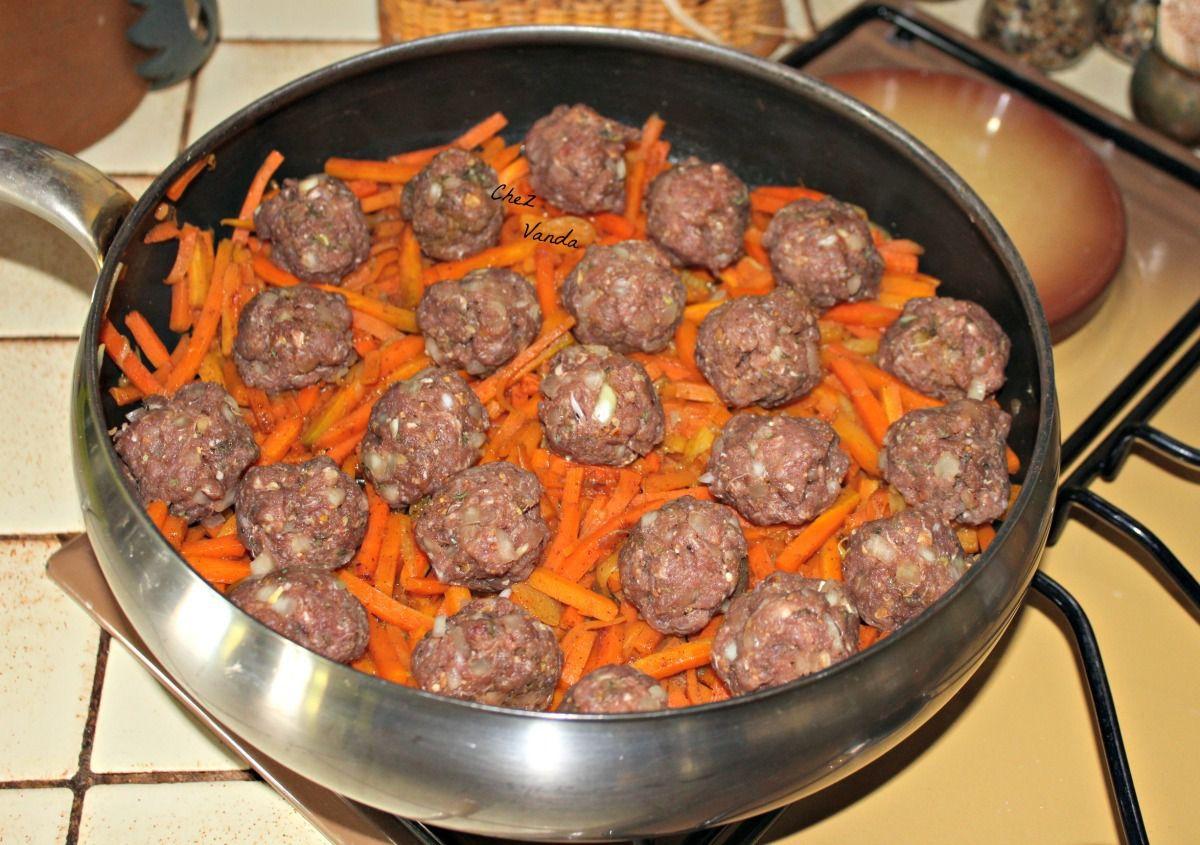 Boulettes  à l'orientale avec ses carottes au safran et fleur d'oranger