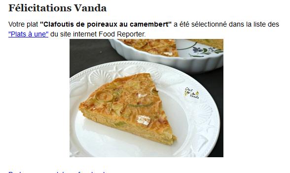 Mon clafoutis  a été mis à la une sur le site Food reporter