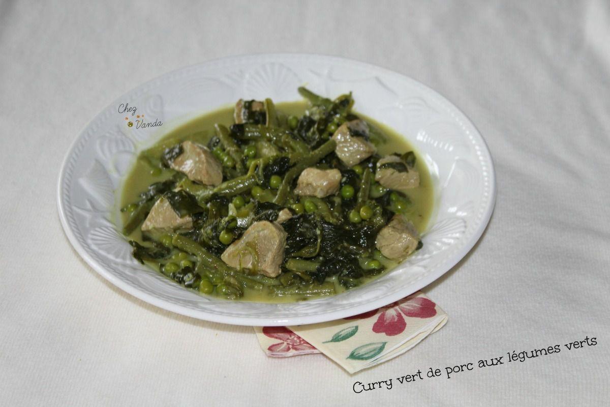 Curry vert de porc aux légumes verts