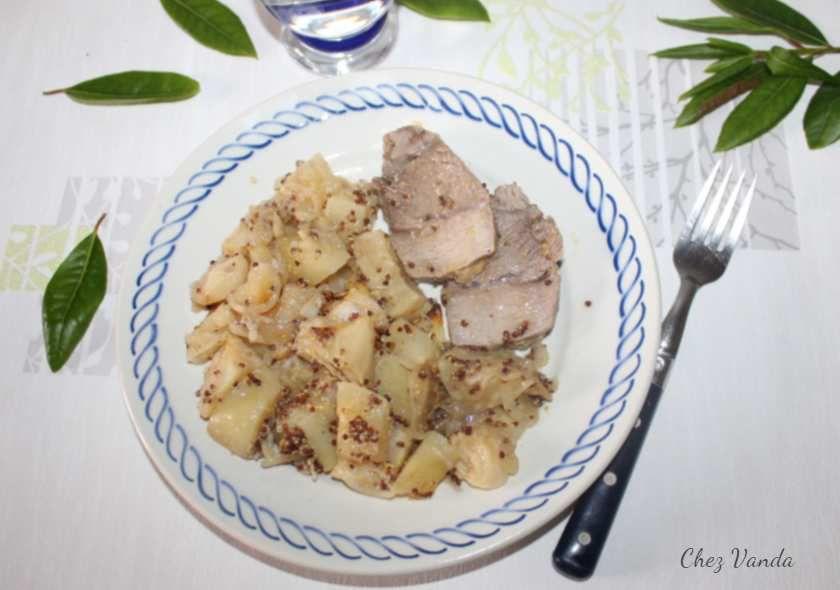 Rôti de porc moelleux aux  pommes de terre ,oignon et céleri rave