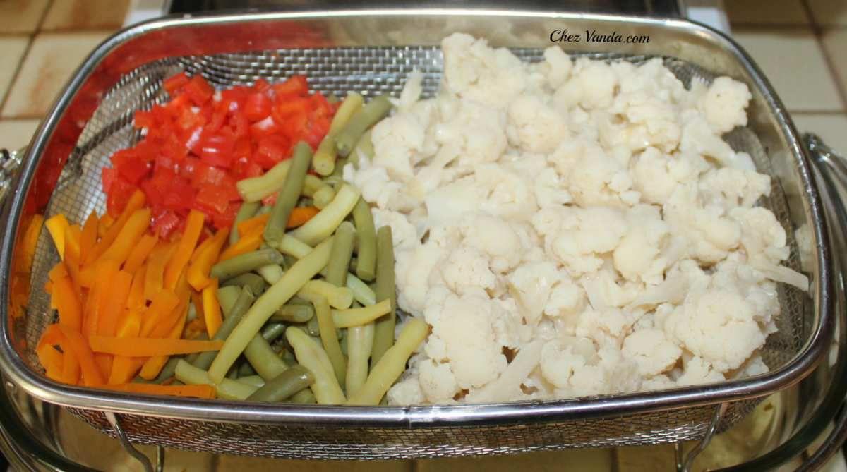 Légumes du jardin cuits  à la vapeur