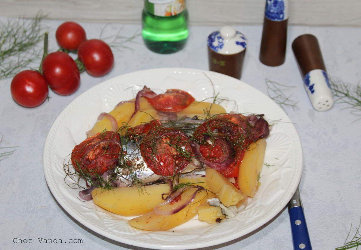 Maquereaux au vin blanc et ses légumes