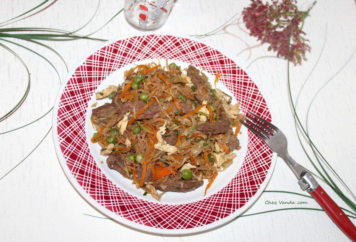 Riz sauté au bœuf et au gingembre.