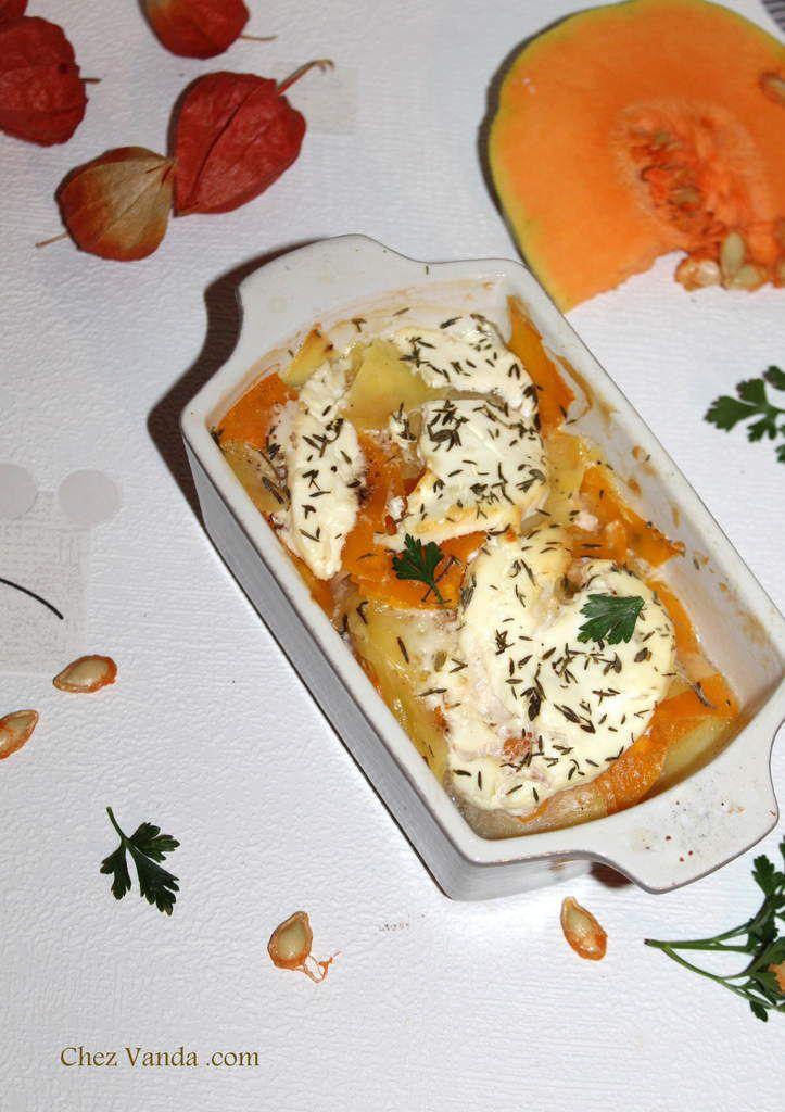 Cocottes de butternut aux pommes de terre et au cabécou