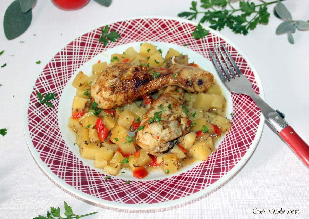 Pilons de poulet  aux  pommes de terre et poivron rouge