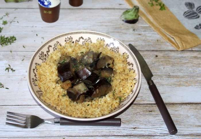 boulgour et sa poêlée d'aubergines au thym recette ww
