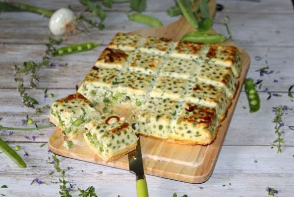 Bread quiche petits pois oignons au thym weight watchers