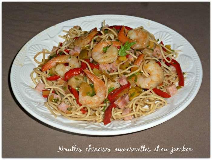 Nouilles chinoises aux crevettes et au jambon