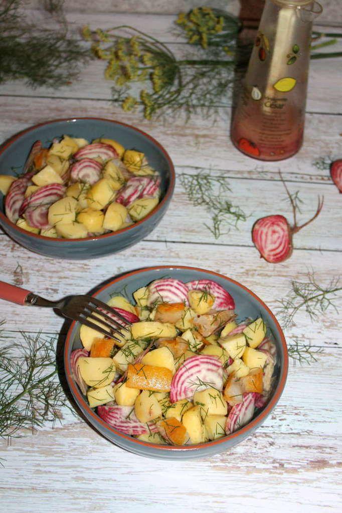 Salade de pommes de terre au haddock et betteraves