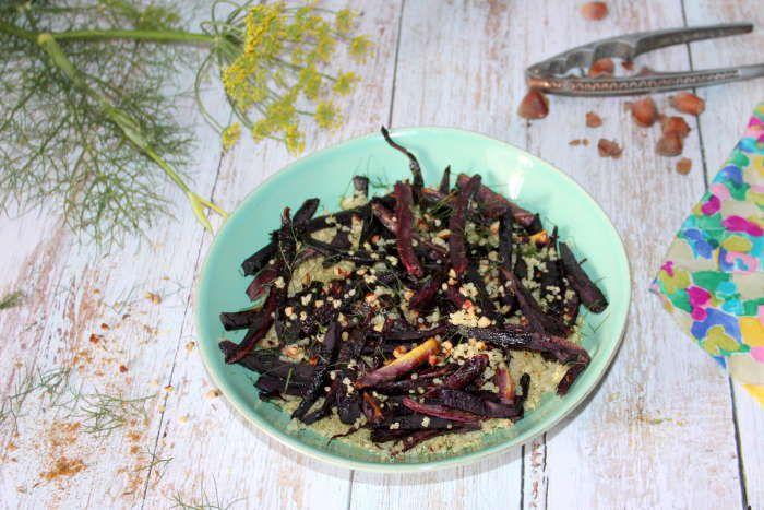 Quinoa croquant et ses carottes violettes rôties au four recette weight watchers