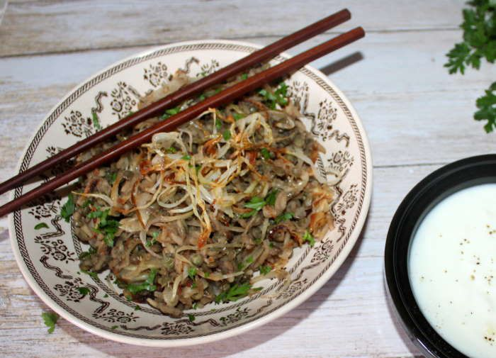 Mujaddara  recette ww ( lentilles riz et oignons caramélisés )
