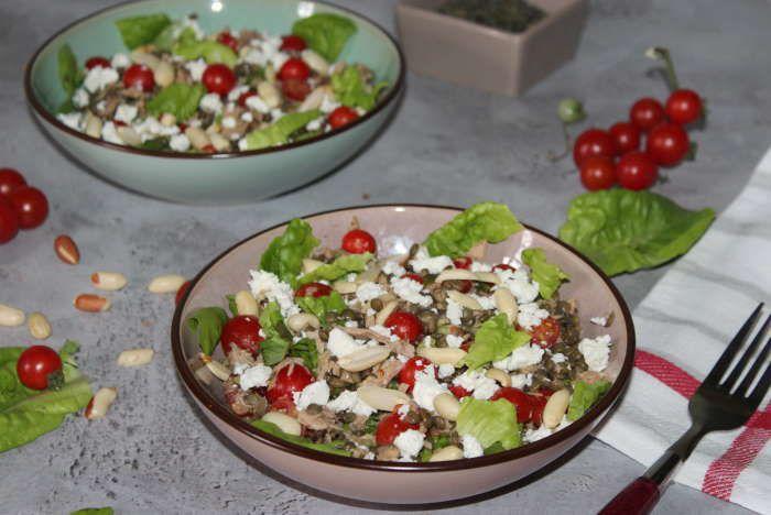 Salade composée  thon , lentilles vertes et cacahuètes recette weight watchers