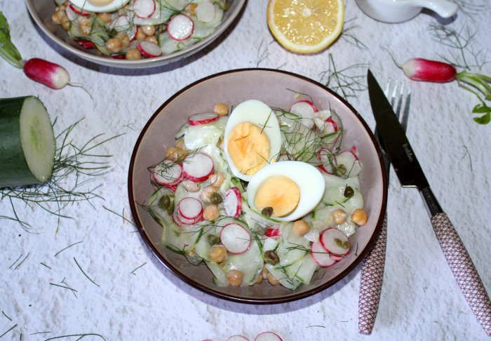 Salade de concombre et radis aux pois chiches recetet weight watchers