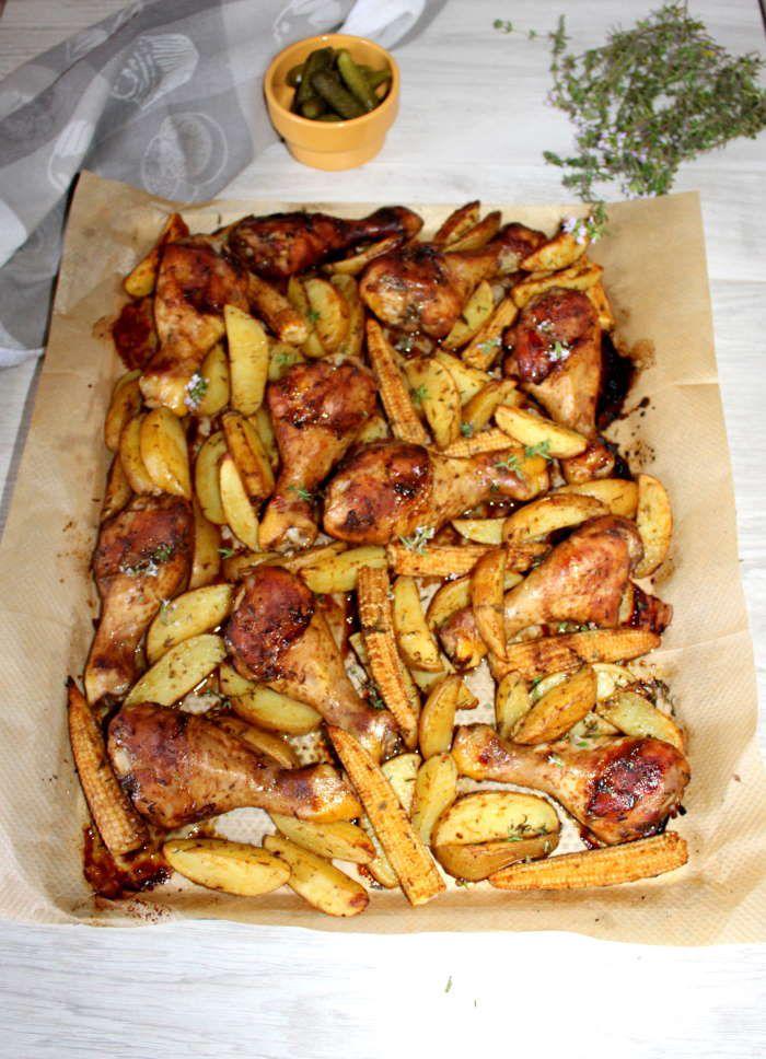 Pilons de poulet , pommes de terre et maïs sauce cajun