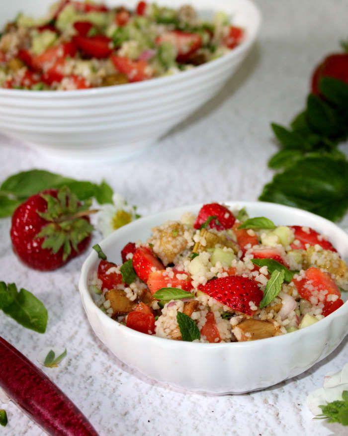 Taboulé à la rhubarbe et  aux fraises