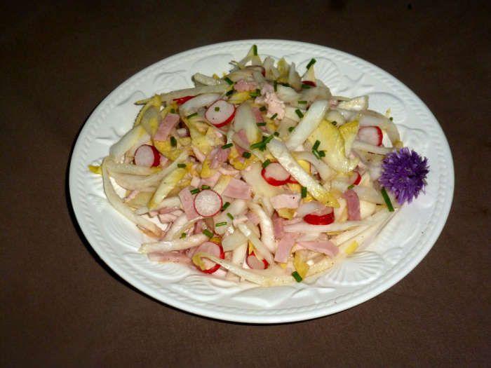 Salade endive et radis au blanc de dinde (pour 1 pers)