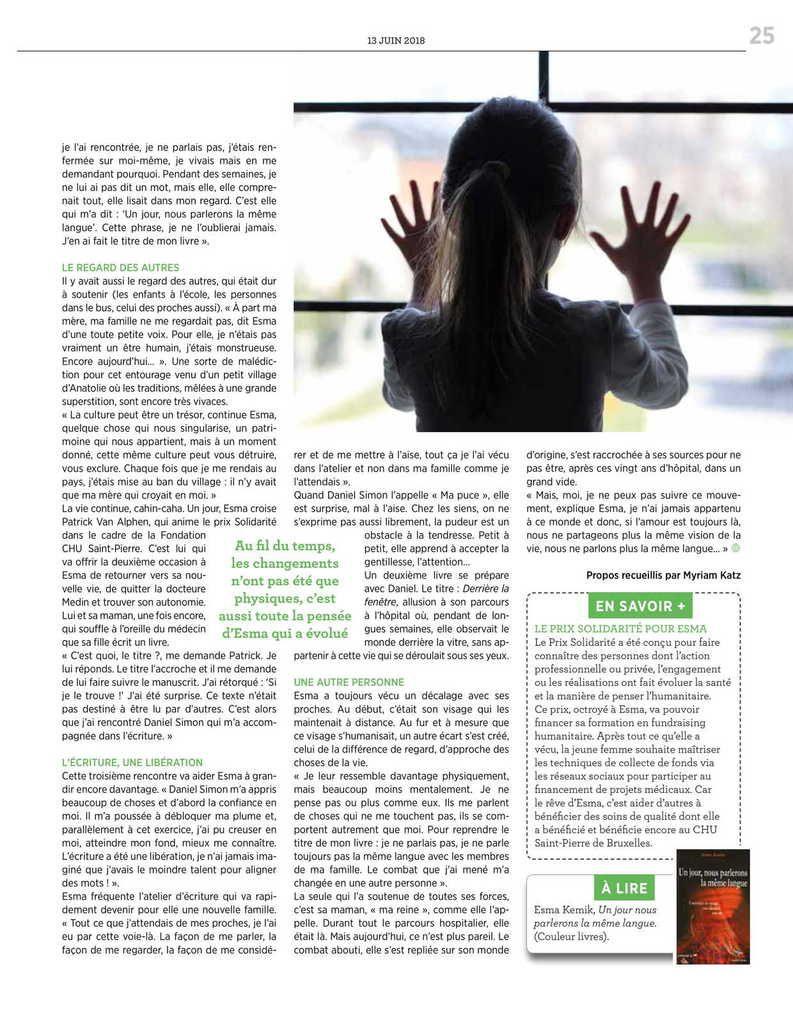 """""""Un jour nous parlerons la même langue"""" d'Esma Kemik / article Le Ligueur"""