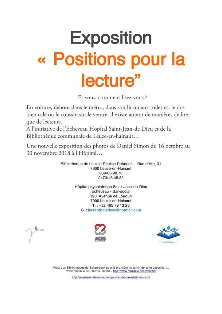 """«Positions pour la lecture"""" à LEUZE-EN-HAINAUT"""