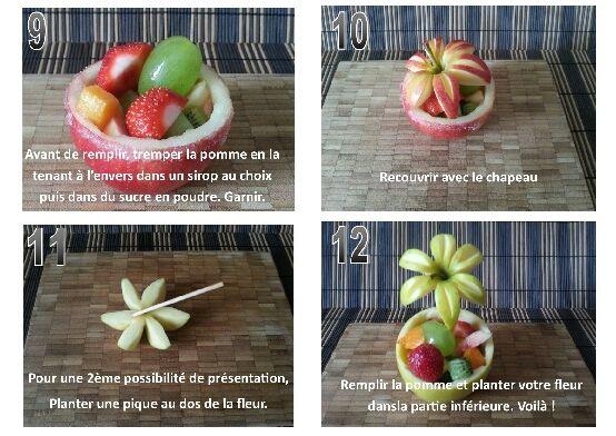 Coupes de fruits en coques de pommes