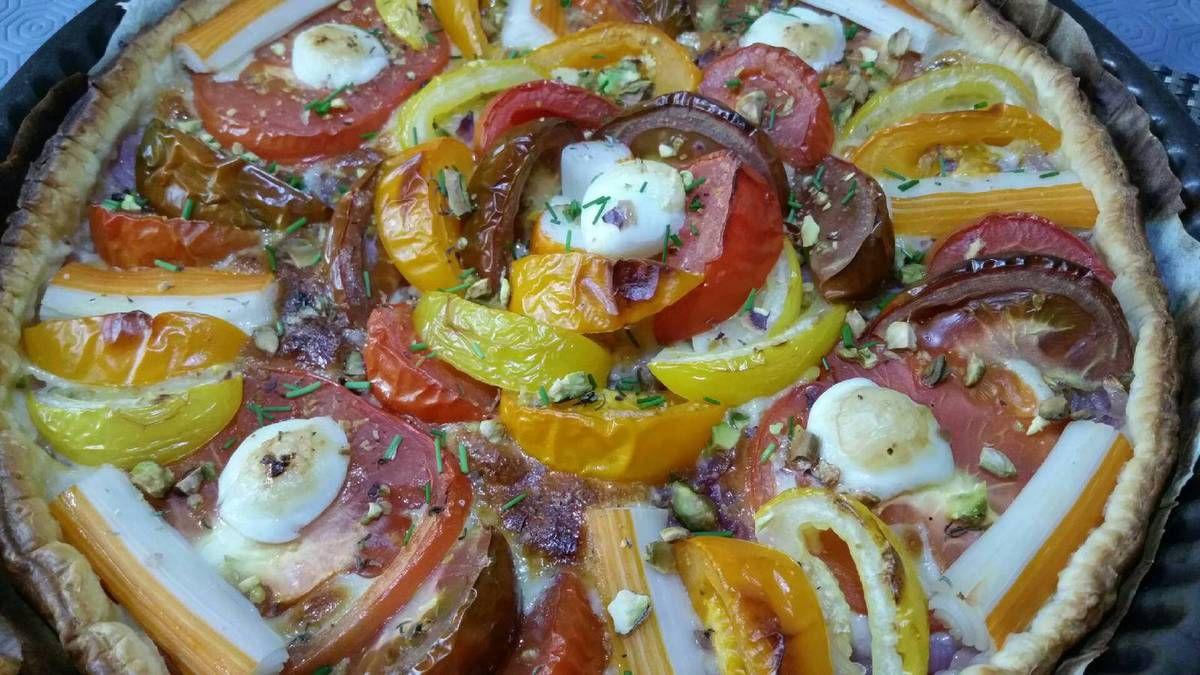 tarte de tomates arc en ciel