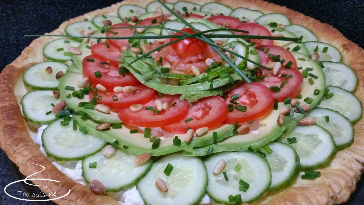 tarte froide concombre avocat tomate au saumon fumé