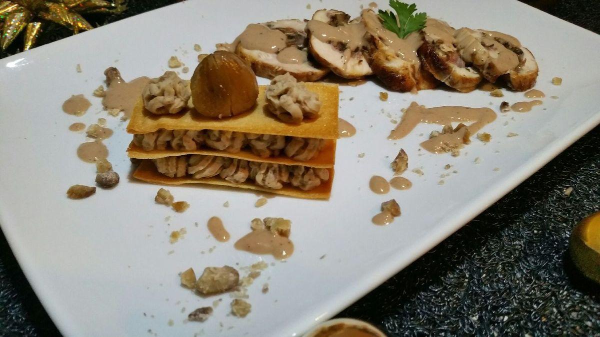 ballottines de poulet sauce foie gras au porto et son mille-feuilles à la purée de châtaignes