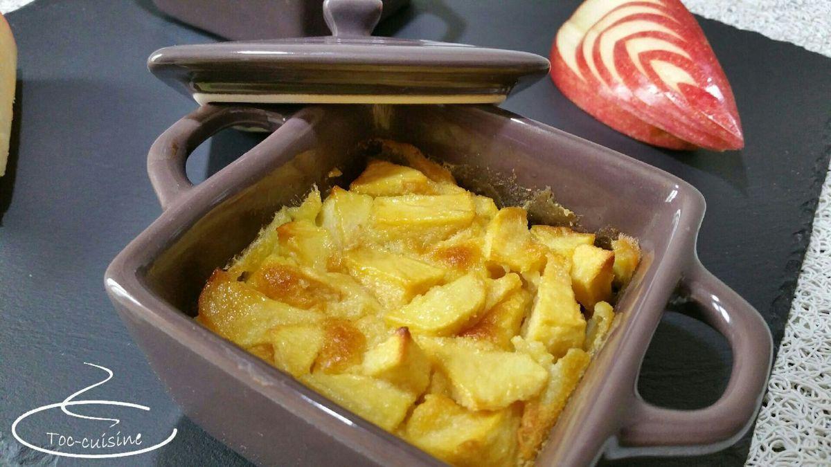clafoutis aux pommes, caramel au beurre salé et Calvados