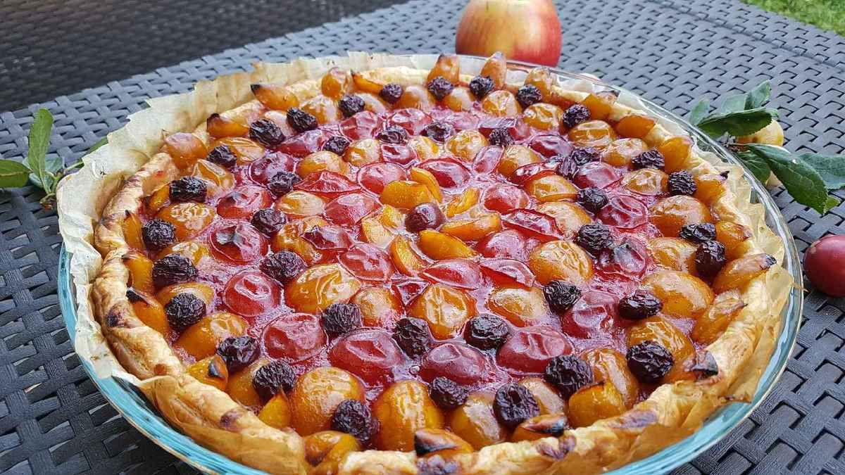 tarte feuilletée aux mirabelles et prunes