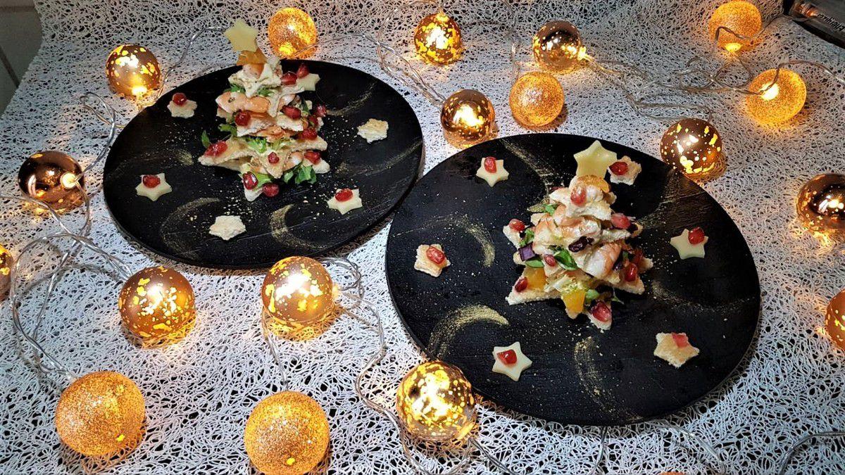 sapin de Noël de crevettes aux agrumes