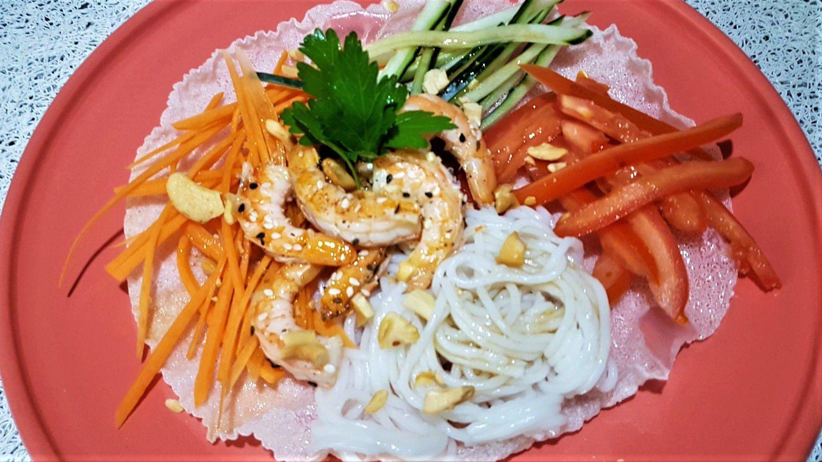 salade asiatique croustillante aux gambas