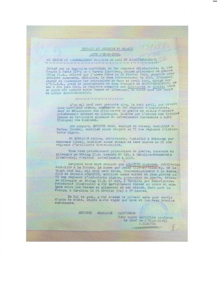 Alphonse, cousin de Théo, est † pour La France le 25 février 1945