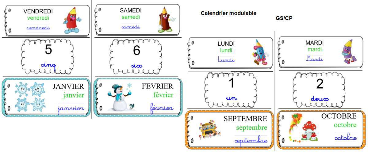 Calendrier mobile 3 graphies GS/CP
