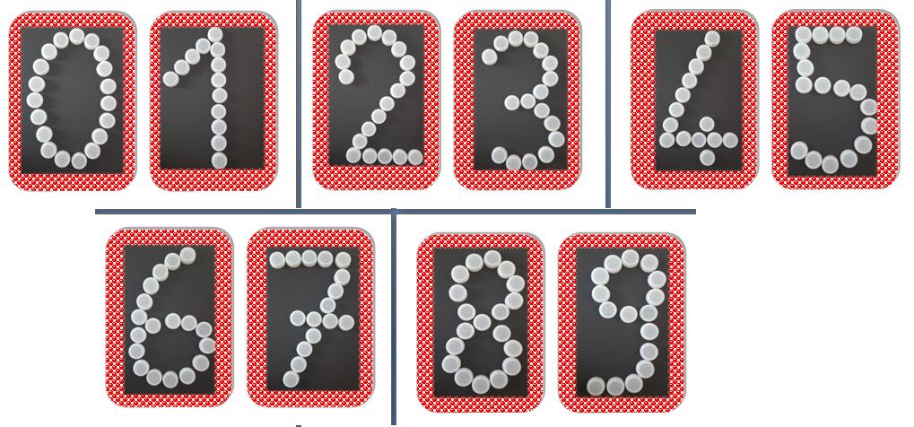 Les nombres avec des bouchons en plastique