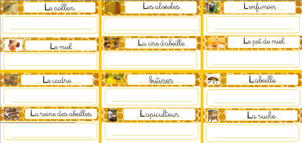 Mot à écrire sur le thème des abeilles