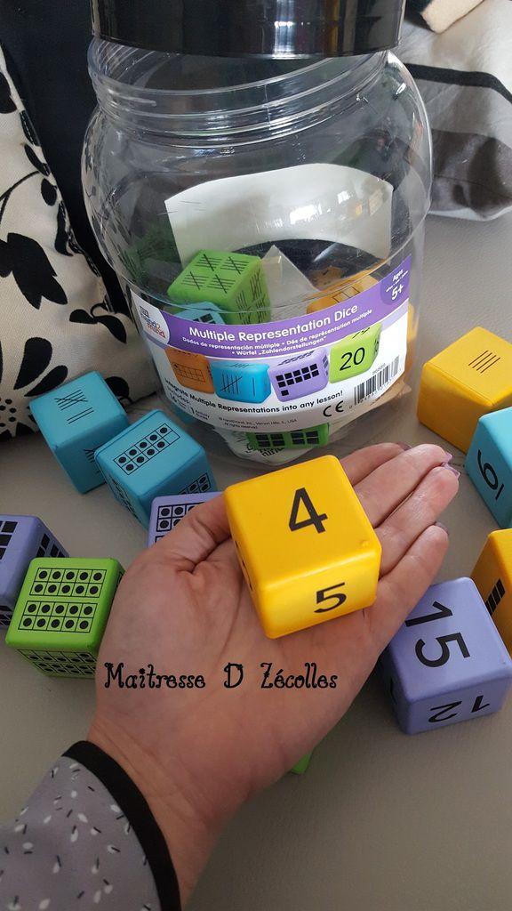 Dés  à jouer avec différentes représentations du nombre