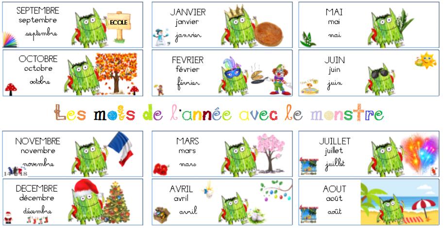Etiquettes mois de l'année : le monstre des couleurs va à l'école