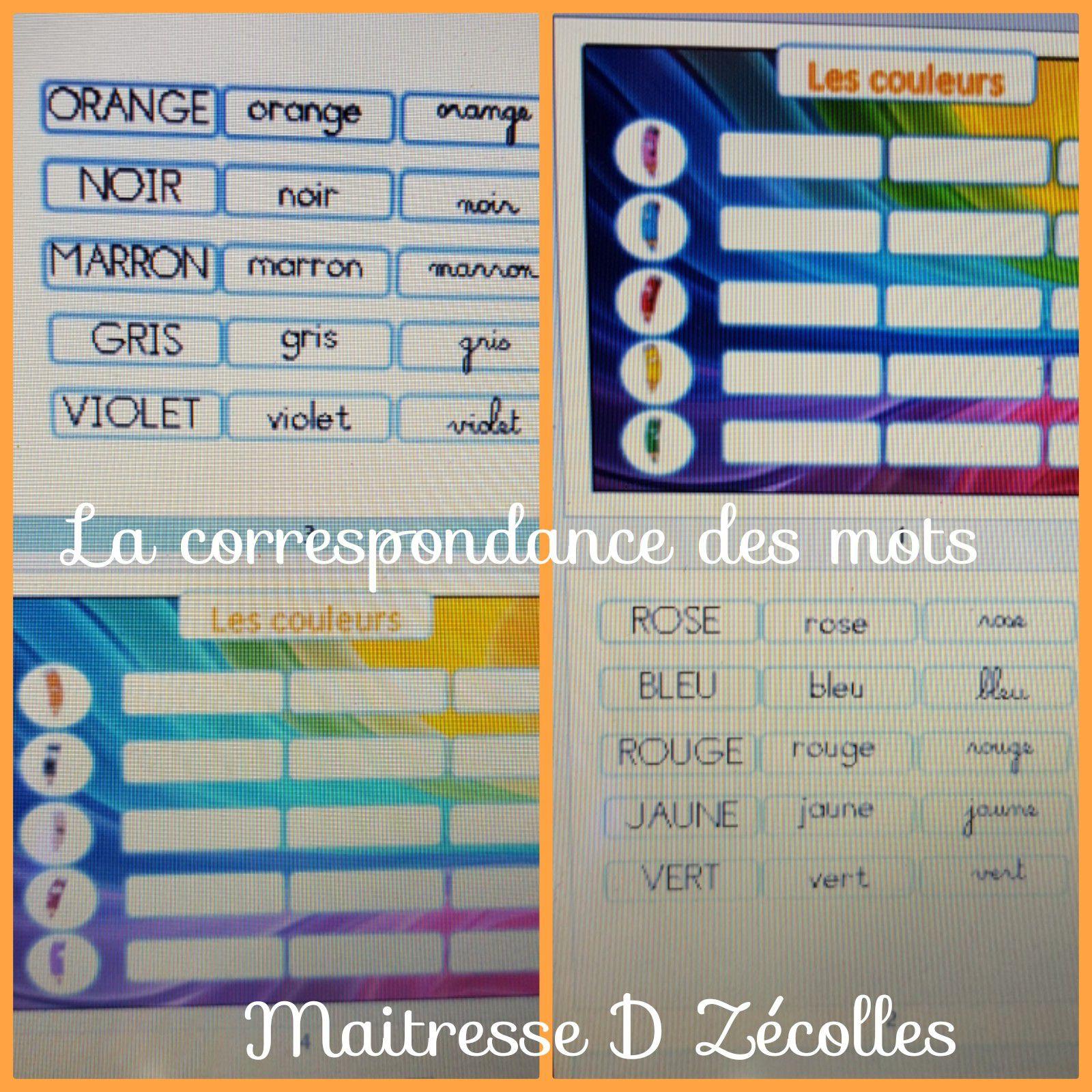 Les couleurs : correspondances des mots
