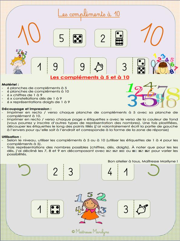 Maths : Ateliers des compléments à 5 ou à 10.