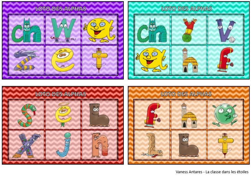 Les Alphas : Loto des lettres/sons/syllabes