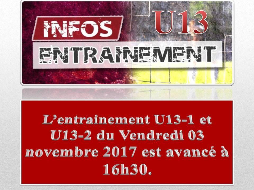 03/11/2017 : U13 - Entrainement avancé