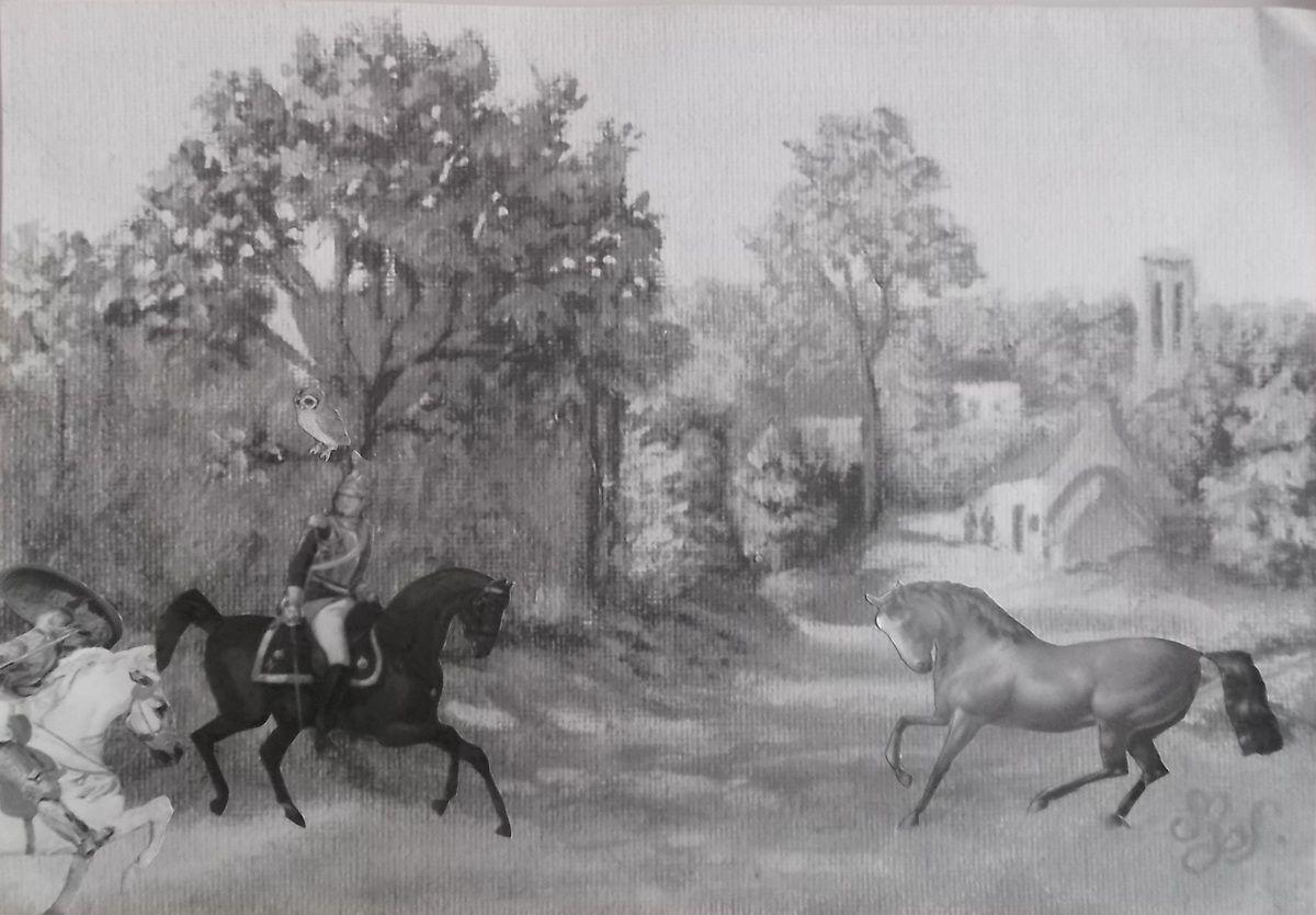 Yvain ou le chevalier au lion de Delacroix, Chouette de Dürer et cheval effrayé par un serpent