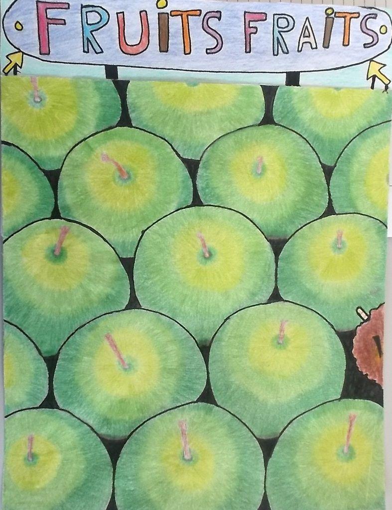 faute d'orthographe + pomme pourrie avec un ver