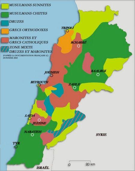 Répartition des confessions religieuses au Liban en 2002.