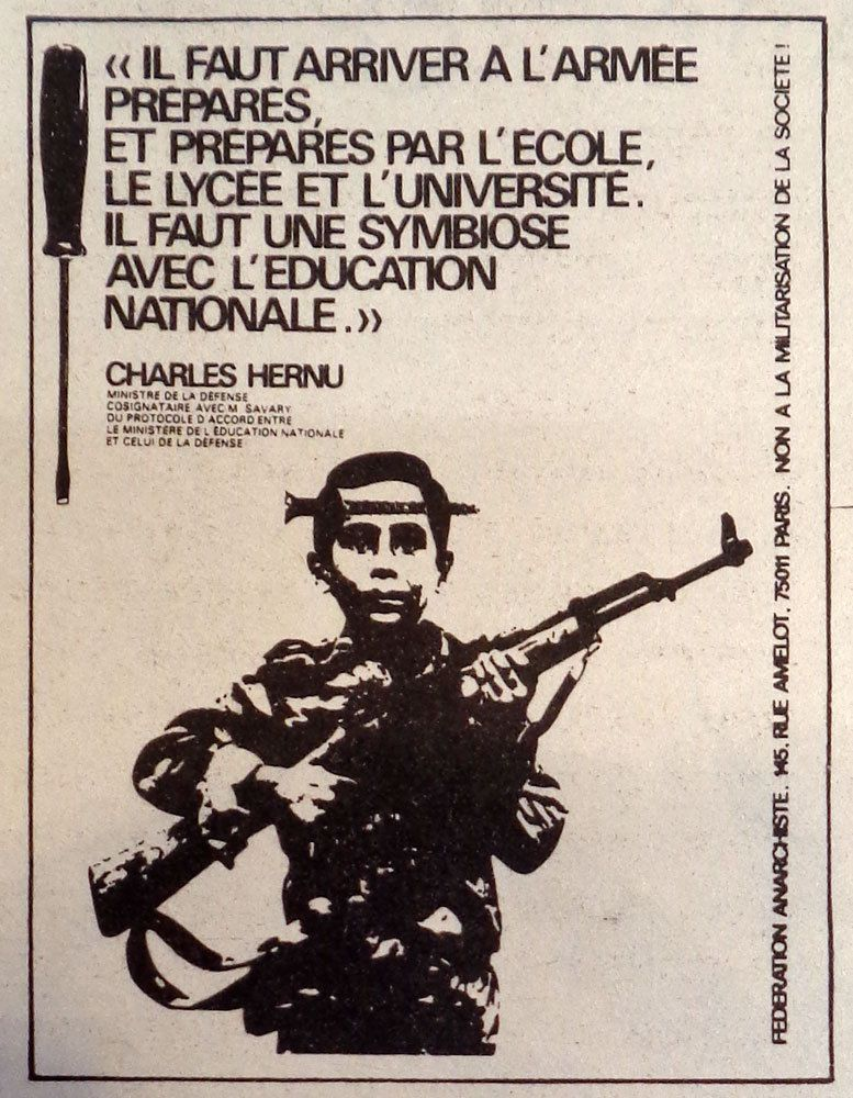 Anarchisme Antimilitarisme éducation_nationale armée SNU