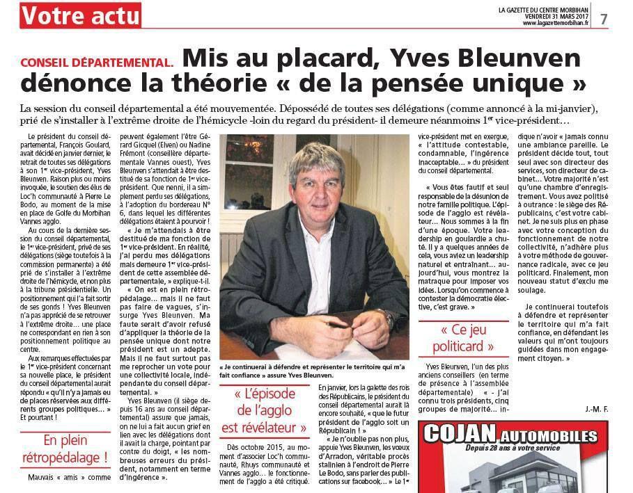 Dans la Gazette du Centre Morbihan du 31/03/2017