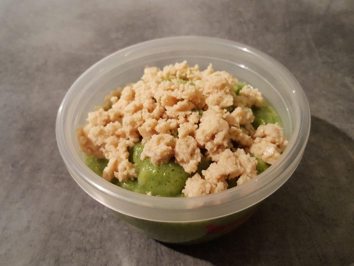 Purée de brocoli et riz au saumon/cabillaud pour bébé